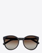 Classic 6 Sunglasses in Black Acetate with Brown Gradient Lenses