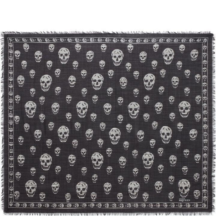 Alexander McQueen, Skull Print Check Scarf