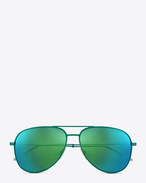 CLASSIC 11 AVIATOR SUNGLASSES IN  MINT GREEN stainless STEEL WITH MINT GREEN mirrored LENSES