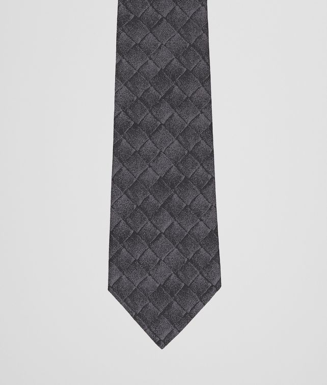 BOTTEGA VENETA TIE IN ANTHRACITE BLACK SILK  Tie or bow tie U fp