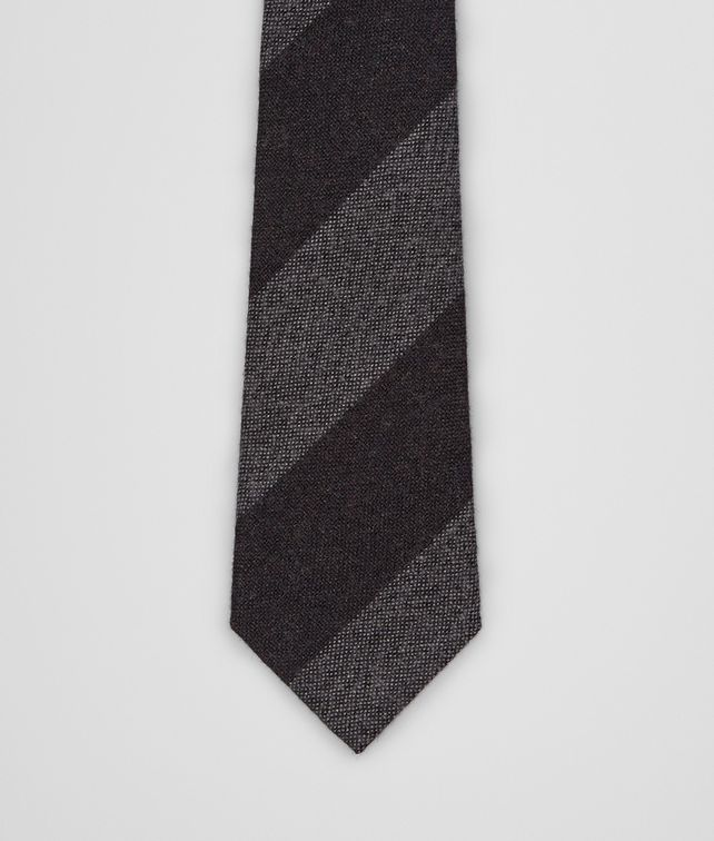 BOTTEGA VENETA Aubergine Medium Grey Wool Silk Tie Tie or bow tie U fp