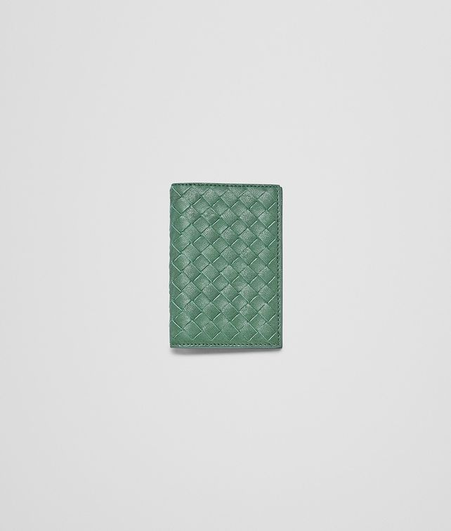 BOTTEGA VENETA Emerald Green Intrecciato Washed Lambskin Card Case Card Case or Coin Purse U fp
