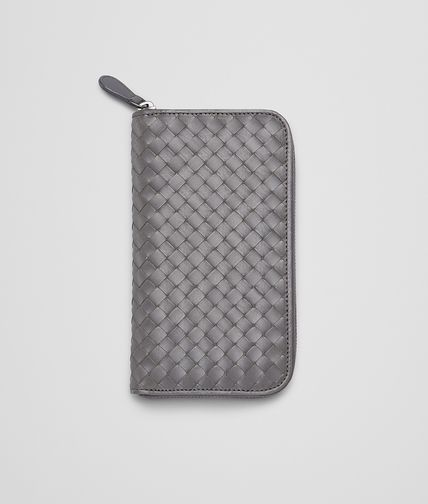 BOTTEGA VENETA - Medium Grey Intrecciato Vachette Zip Around Wallet