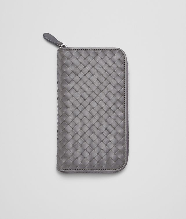 PORTEFEUILLE À FERMETURE ZIPPÉE EN VEAU INTRECCIATO MEDIUM GREY