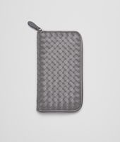 Medium Grey Intrecciato Vachette Zip Around Wallet