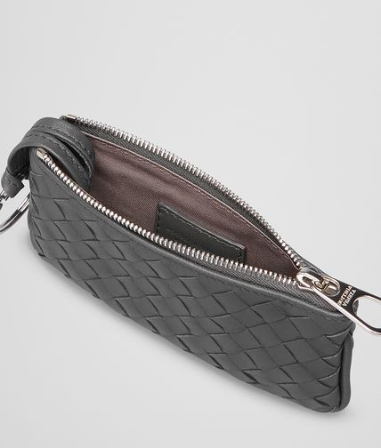 BOTTEGA VENETA - New Light Grey Intrecciato Nappa Key Case