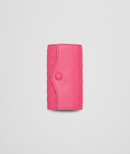 BOTTEGA VENETA - Rosa Shock Intrecciato Nappa Key Case