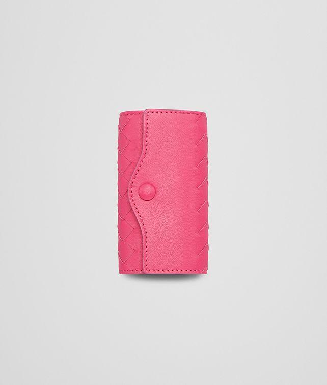 BOTTEGA VENETA ÉTUI À CLÉS ROSE SHOCKING EN NAPPA INTRECCIATO Porte-clé ou Bracelet E fp