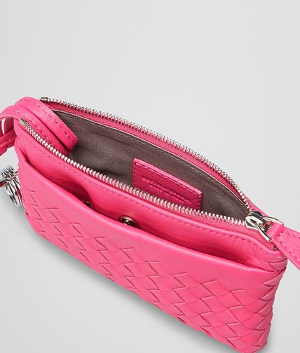 BOTTEGA VENETA - Rosa Shock Intrecciato Nappa Key Ring