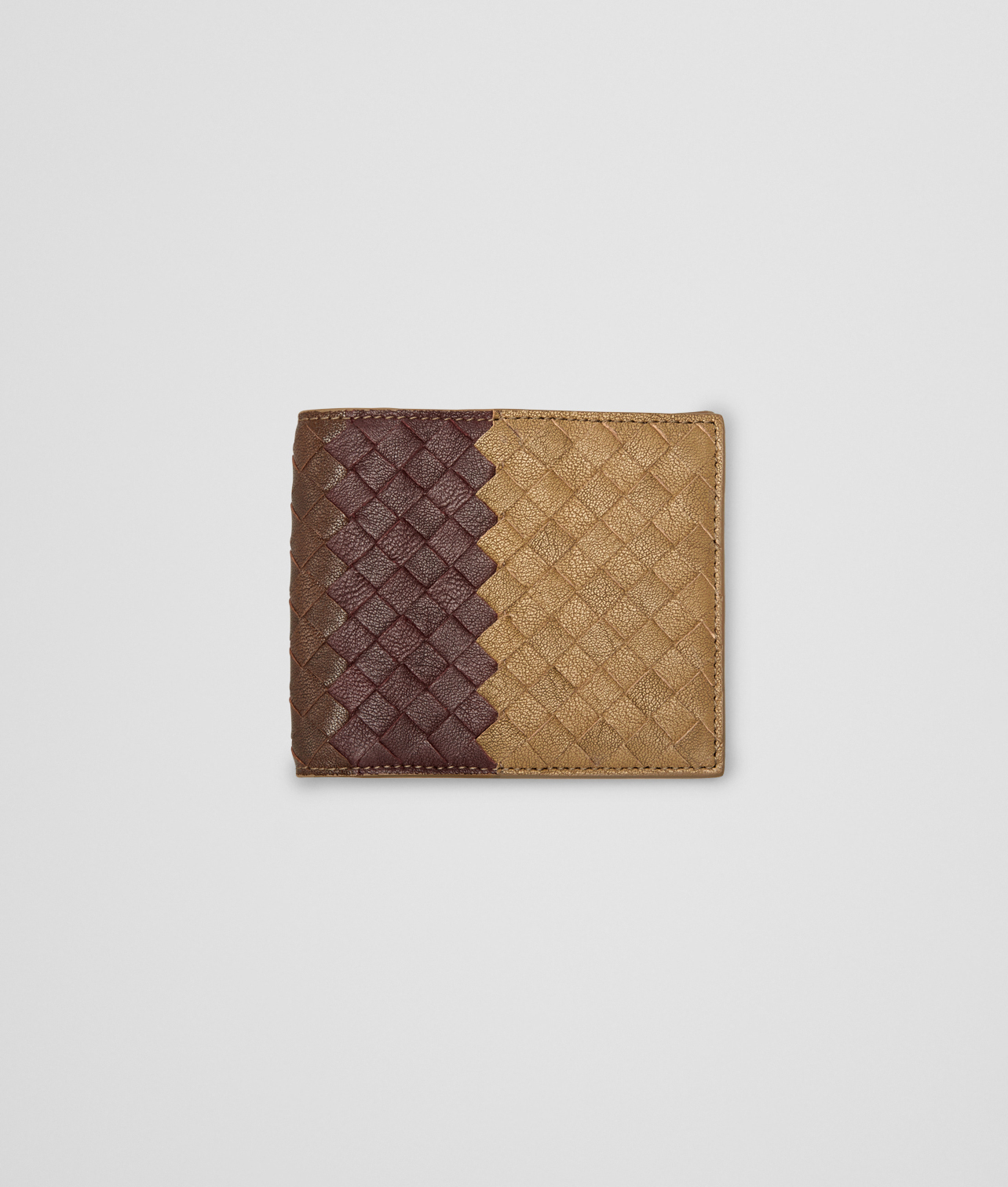 BOTTEGA VENETA - New Bronze Aubergine Edoardo Intrecciato Club Fumé Wallet