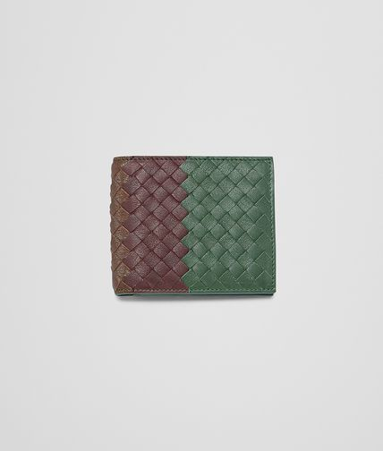 BOTTEGA VENETA - Emerald Green Aubergine Edoardo Intrecciato Club Fumé Wallet