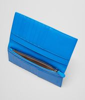 Nero Signal Blue Intrecciato Washed Vintage Continental Wallet