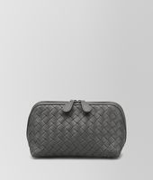 MEDIUM COSMETIC CASE IN NEW LIGHT GRAY INTRECCIATO NAPPA