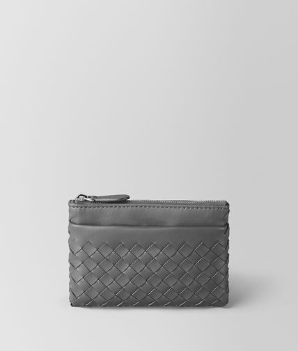 BOTTEGA VENETA - New Light Grey Intrecciato Nappa Key Ring