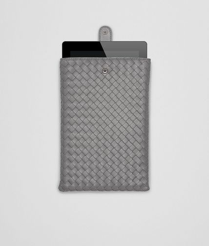 BOTTEGA VENETA - New Light Grey Intrecciato Nappa Mini iPad Case