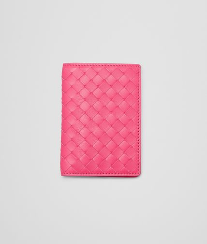 BOTTEGA VENETA - Rosa Shock Intrecciato Nappa Card Case
