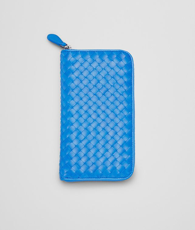 Signal Blue Intrecciato Vn Zip Around Wallet