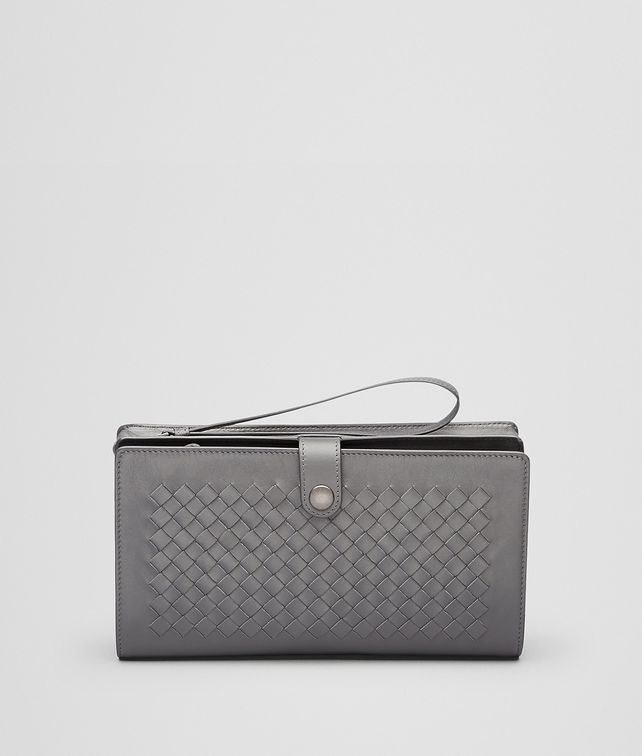New Light Grey Intrecciato Light Calf Continental Wallet