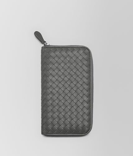 ZIP AROUND WALLET IN NEW LIGHT GREY INTRECCIATO NAPPA