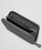 NEW LIGHT GREY INTRECCIATO NAPPA ZIP AROUND WALLET