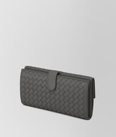 NEW LIGHT GREY INTRECCIATO NAPPA CONTINENTAL WALLET