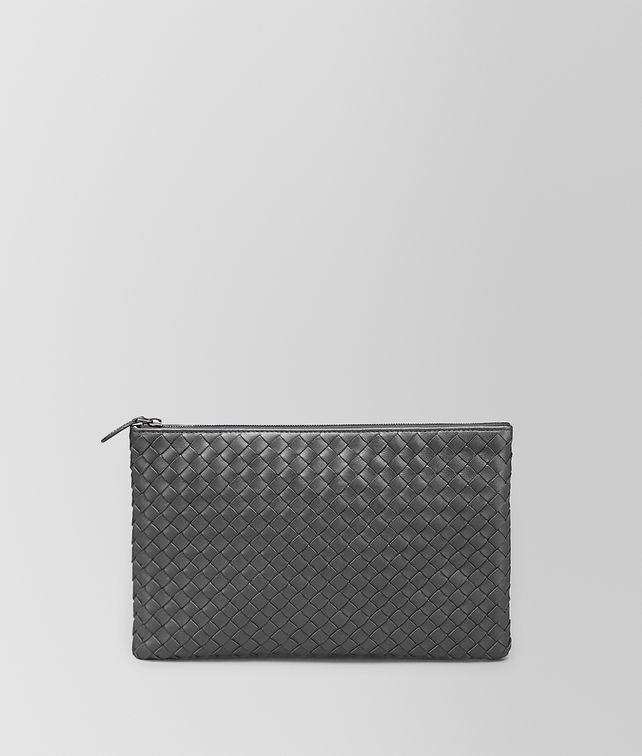 MEDIUM DOCUMENT CASE IN NEW LIGHT GREY INTRECCIATO NAPPA