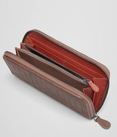 Edoardo Burnt Red Intrecciato Washed Vintage Zip Around Wallet