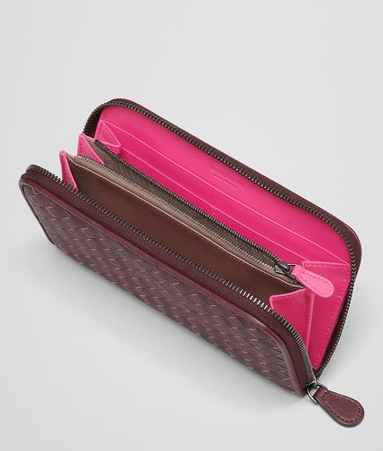 BOTTEGA VENETA - Aubergine Rosa Shock Intrecciato Washed Vintage Zip Around Wallet