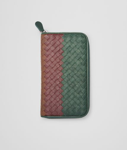 BOTTEGA VENETA - Emerald Green Aubergine Edoardo Intrecciato Club Fumé Zip Around Wallet