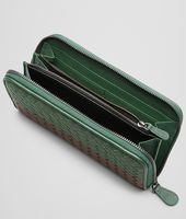 Emerald Green Aubergine Edoardo Intrecciato Club Fumé Zip Around Wallet - Online Boutique Exclusive