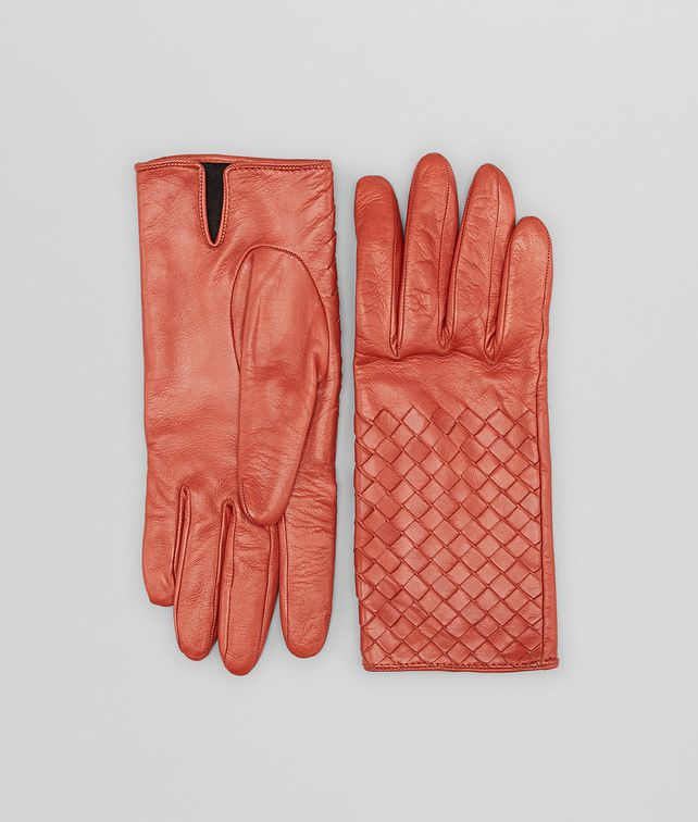 BURNT RED INTRECCIATO NAPPA GLOVES