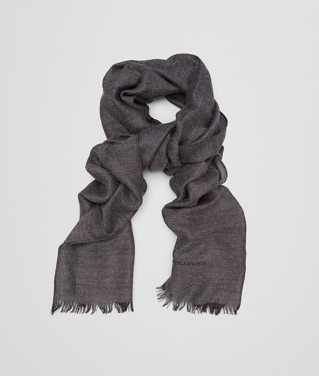 BOTTEGA VENETA SCARF IN ANTHRACITE BLACK CASHMERE WOOL SILK Scarf or Hat or Glove E fp