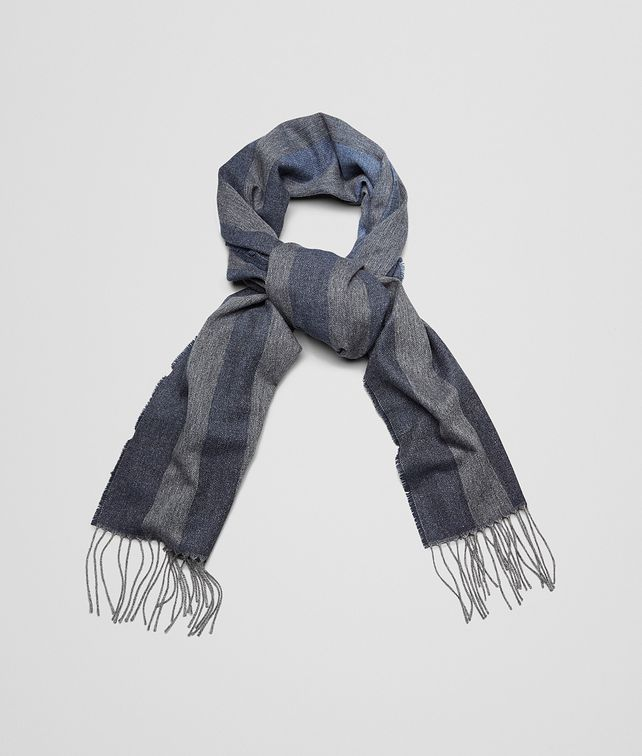 SCIARPA ANTHRACITE E BLUE IN CASHMERE