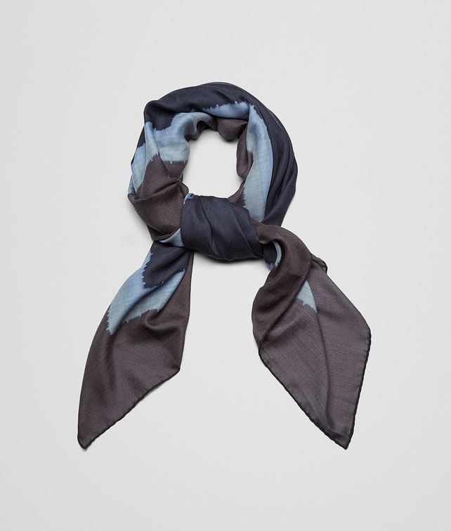 Midnight Blue Dark Grey Cashmere Silk Scarf