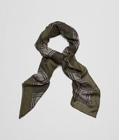 Olive Dark Green Cashmere Wool Silk Scarf