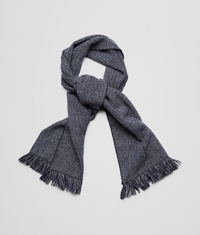 Anthracite Blue Wool Cashmere Scarf