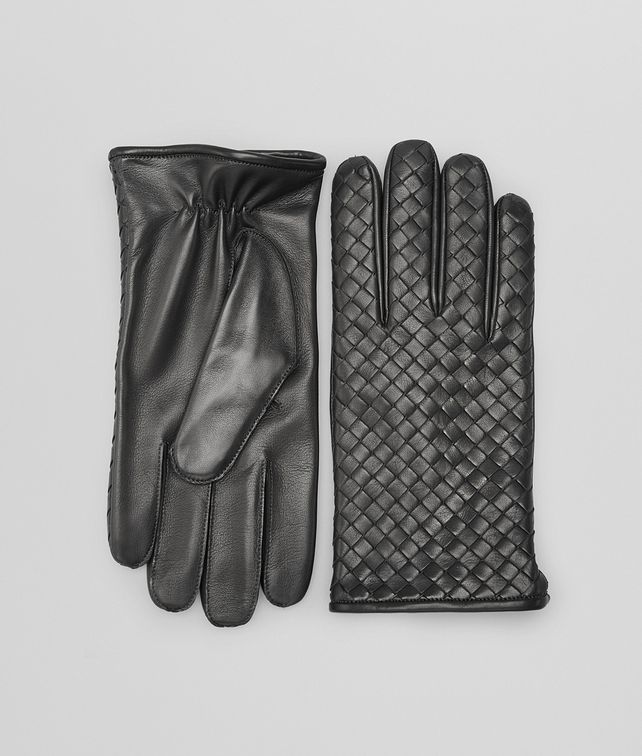 Dark Grey Intrecciato Soft Nappa Gloves