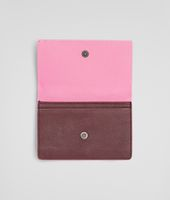 Aubergine Rosa Shock Intrecciato Washed Vintage Card Case