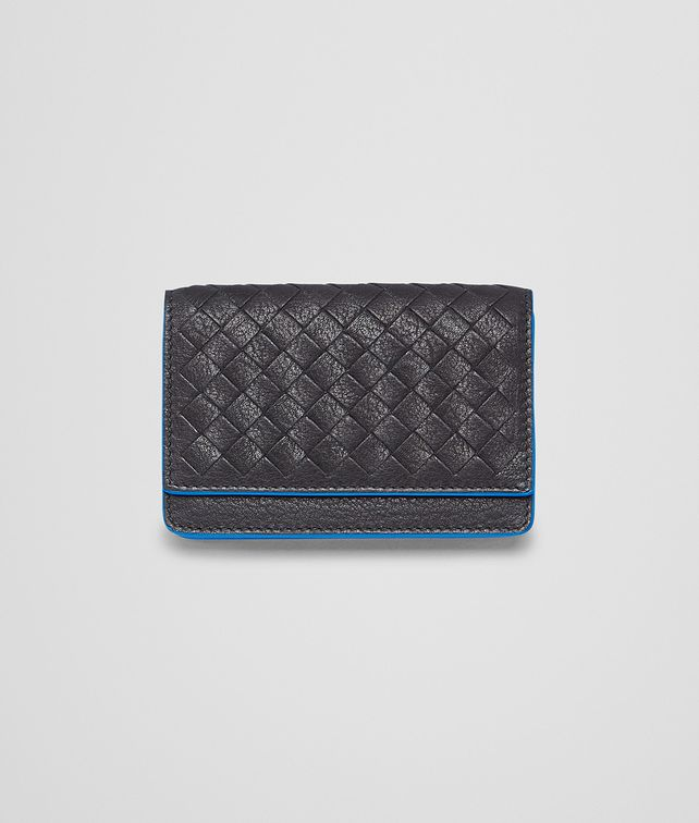 BOTTEGA VENETA Nero Signal Blue Intrecciato Washed Vintage Card Case Card Case or Coin Purse U fp