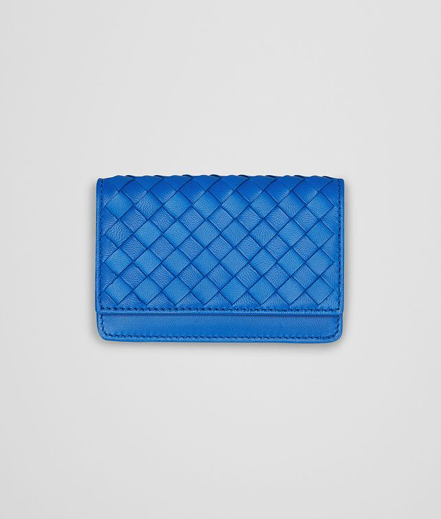 BOTTEGA VENETA SIGNAL BLUE INTRECCIATO NAPPA CARD CASE Mini Wallet or Coin Purse D fp