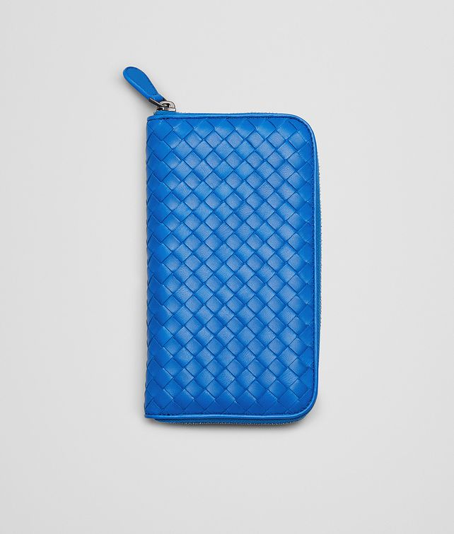 Signal Blue Intrecciato Nappa Zip Around Wallet