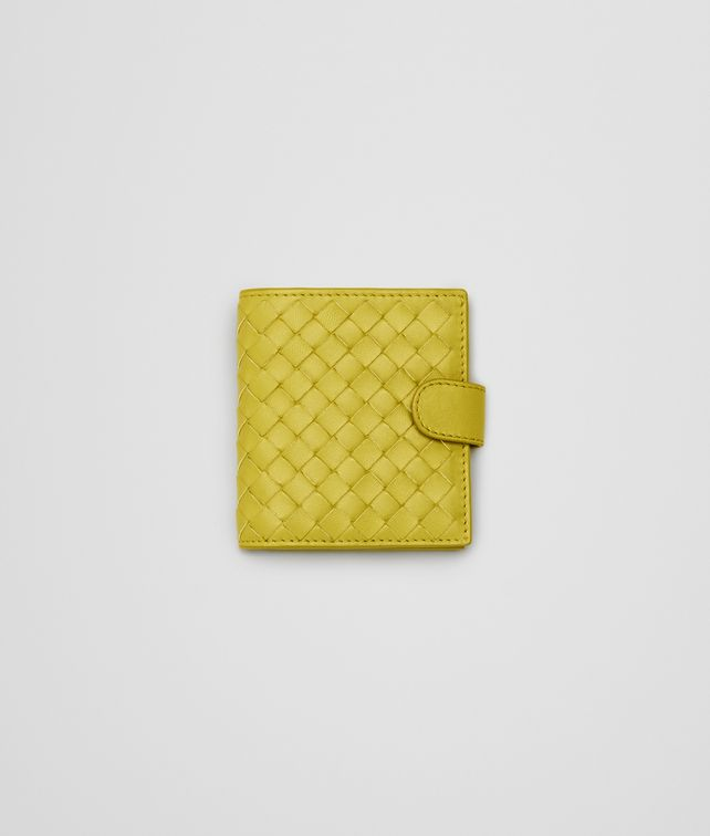 New Chartreuse Intrecciato Nappa French Flap Mini Wallet