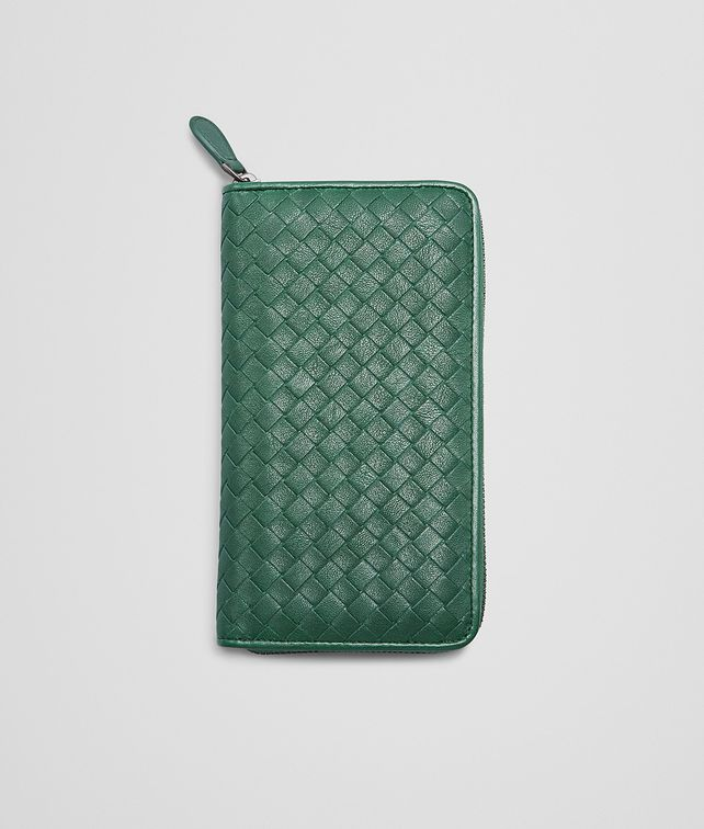 Emerald Green Intrecciato Washed Lambskin Zip Around Wallet