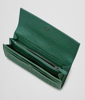Emerald Green Intrecciato Washed Lambskin Continental Wallet