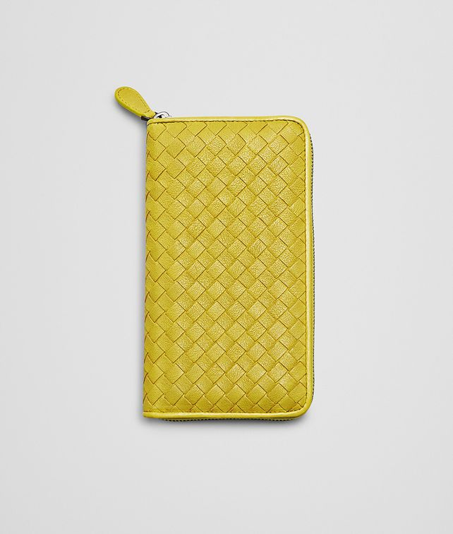 NEW CHARTREUSE Intrecciato Washed Lambskin  ZIP AROUND WALLET