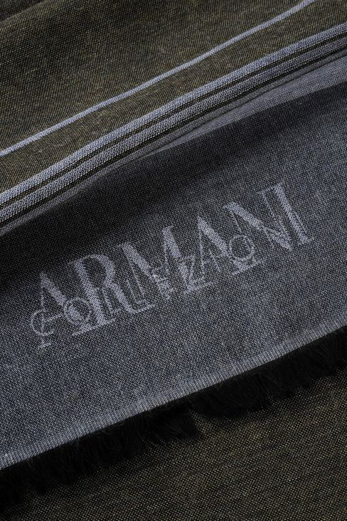 WRAP IN STRIPED VISCOSE BLEND WITH LOGO: Stoles Men by Armani - 3