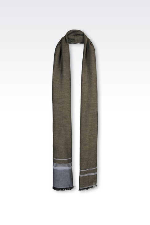 WRAP IN STRIPED VISCOSE BLEND WITH LOGO: Stoles Men by Armani - 1