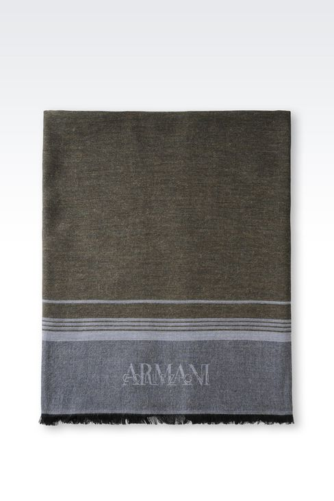 WRAP IN STRIPED VISCOSE BLEND WITH LOGO: Stoles Men by Armani - 2