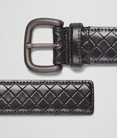 CEINTURE NEW DARK GREY EN CUIR SCOLPITO INTRECCIO