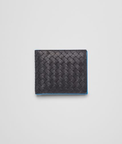 BOTTEGA VENETA - Nero Signal Blue Intrecciato Washed Vintage Wallet